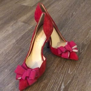 Red/Pink Jessica Simpson Heels with Bow